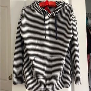 Sweaters - Black and White Striped Hoodie